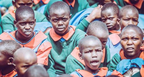 A group of students at the Mugie school