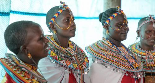 Samburu women gather for a health clinic at Mugie